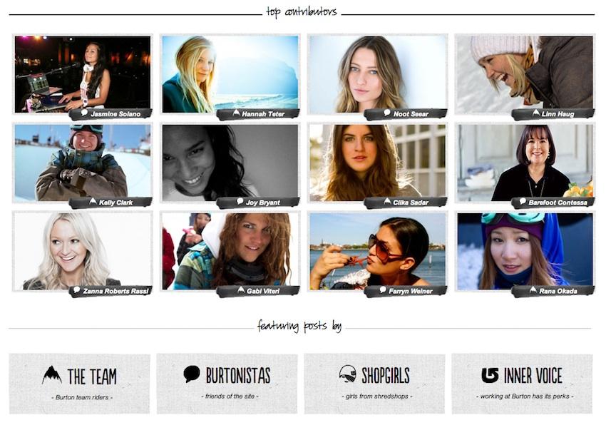 burtongirls topcontributors BURTONGIRLS.COM   nasce la nuova snowboard community