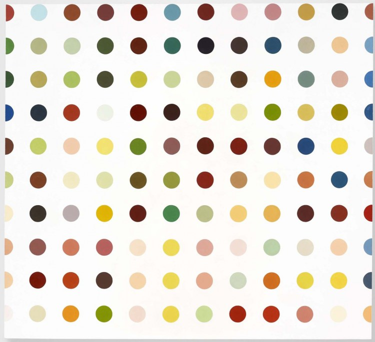 1 damien hirst 1992 aminoantipyrine c2a9 damien hirst and science ltd all rights reserved dacs 2011 courtesy gagosian gallery photographed by prudence cuming associates DAMIEN HIRST    Spot Paintings una mostra per 11 location