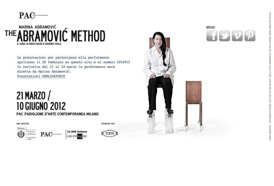 abramovicmethod THE ABRAMOVIC METHOD   performance live al PAC di Milano