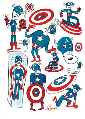 M.Giacon Captain America 2012 inchiostro e ecoline su carta 40 x 30 cm MASSIMO GIACON   at work, at home, at play!