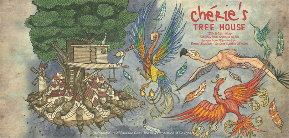 cherie 8761 0x440 A PLANETARIUM OF PARADISE BIRDS   Chéries Tree House Milan
