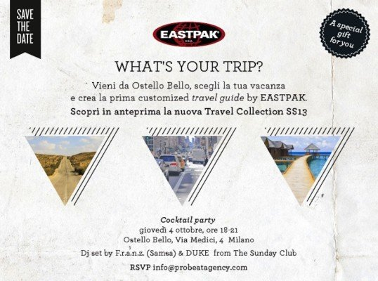 Eastpak savethedate 538x400 EASTPAK TRAVEL COLLECTION SS13   personalizza al massimo il tuo viaggio!