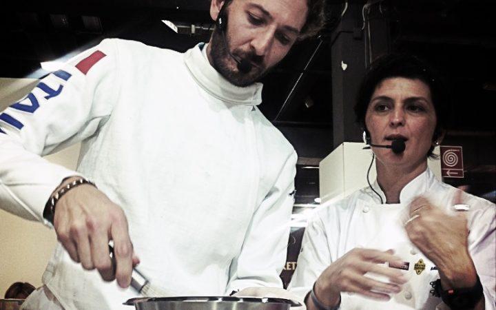 LA CHEF E LO SPADISTA - la strana coppia ai fornelli per Identità golose 2013  10