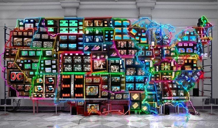 nam june paik in italia art exhibition in modena neon tv sculpture NAM JUNE PAIK   capire la videoarte. A Modena
