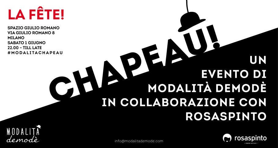 modalita chapeau FLYER 910x485 02 e1369352214461 CHAPEAU!   La Fête il 1 giugno allo Spazio Giulio Romano