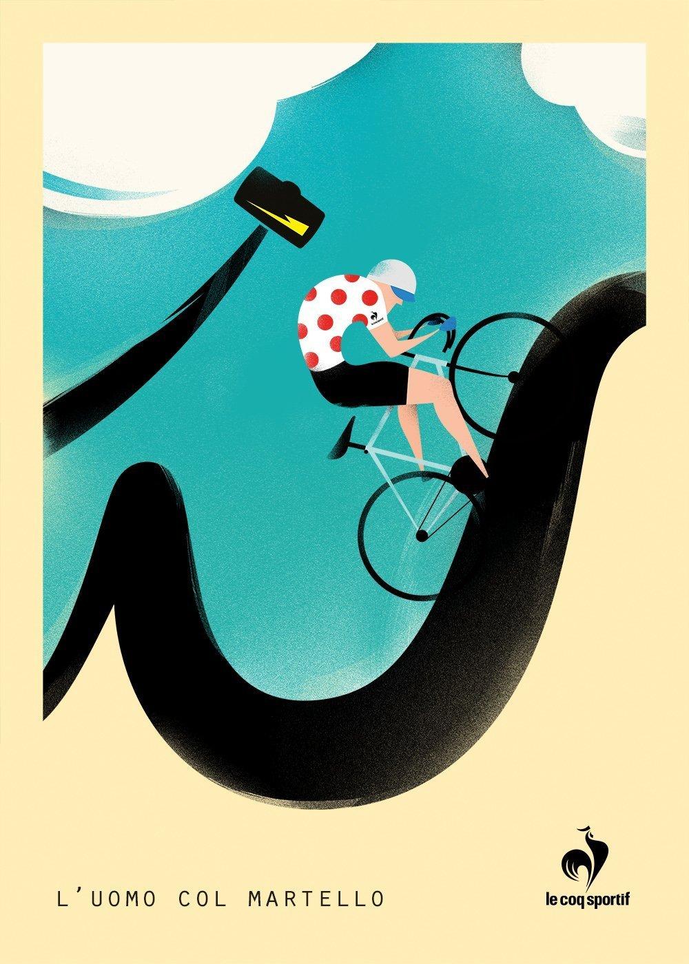 FINAL poster lecoq LUOMO COL MARTELLO   Tour de France con Le Coq Sportif
