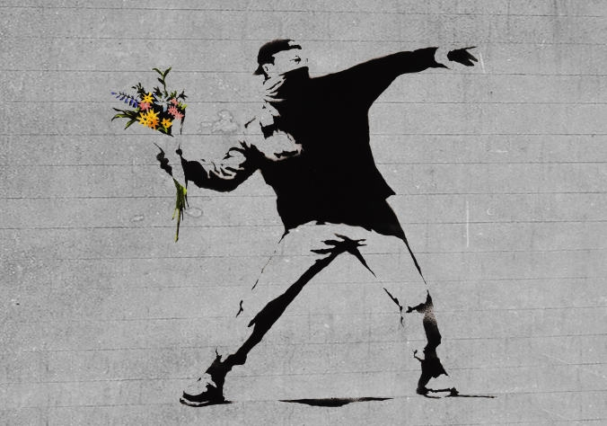 bansky flower brick thrower WE ART   Modalità Demodè party!
