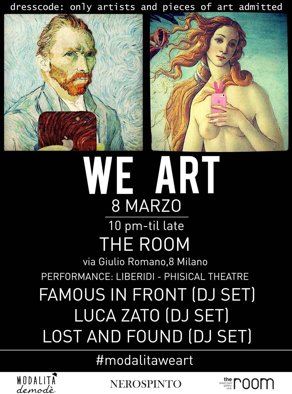 invito WEART 8 marzo Spazio Giulio Romano WE ART   Only artists and pieces of art admitted