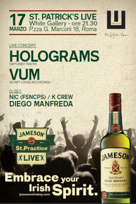 locandina sT pATRICK 2014 266x400 JAMESON ST PATRICKS LIVE ROME   Il whiskey che non ti aspetti