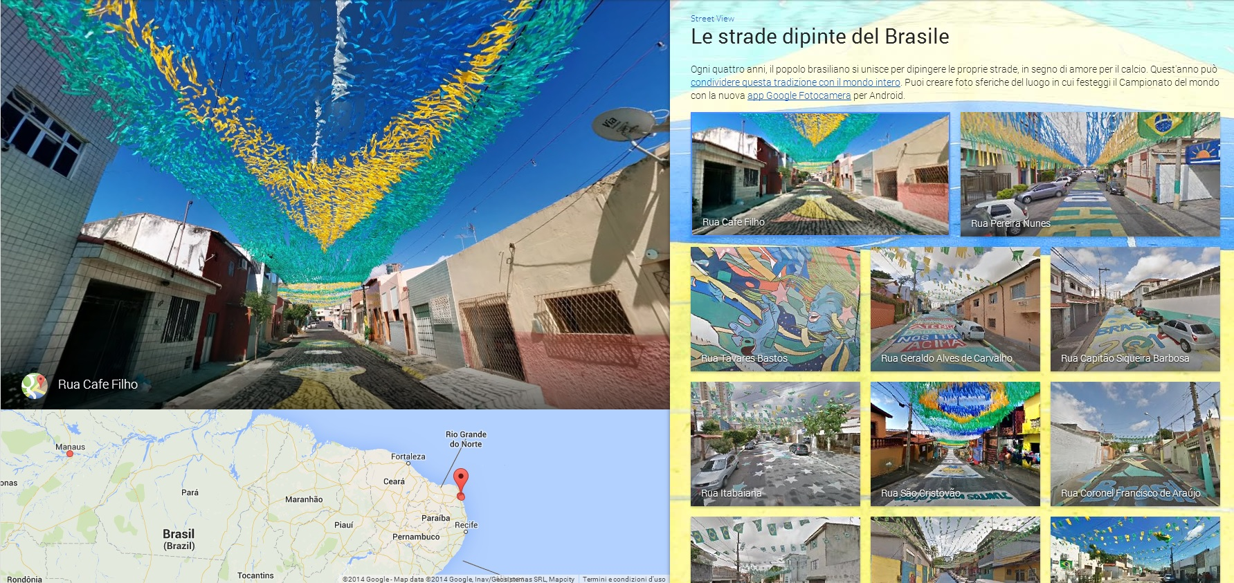 BRASILE3 MONDIALI BRASILE 2014   Google Maps e le strade dipinte