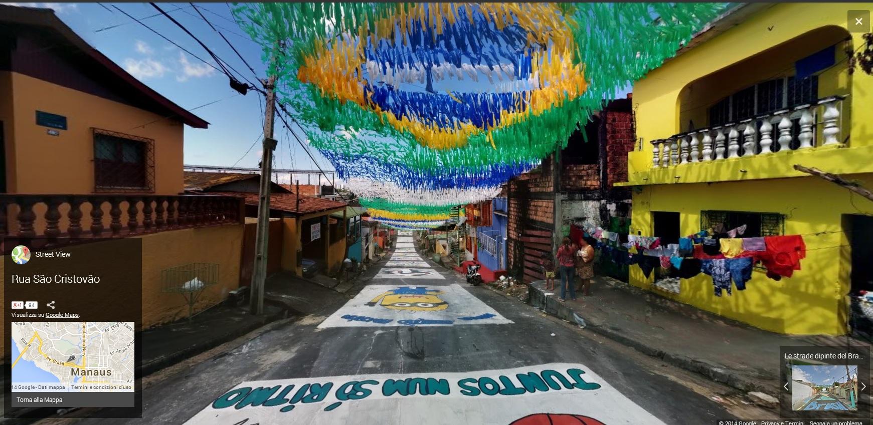BRASILE4 MONDIALI BRASILE 2014   Google Maps e le strade dipinte