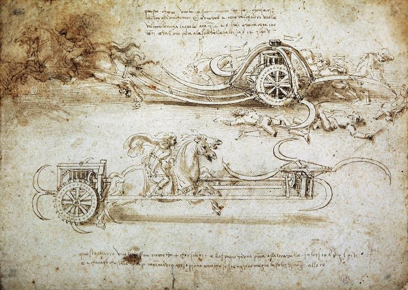 leonardo 1542 1519 milano palazzo reale leonardo da vinci studi di carri dassalto falcati Arte EXPO Milano 2015