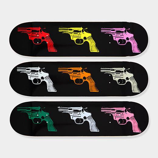 Andy Warhol Skateboard Triptych Guns XMAS ART GIFT