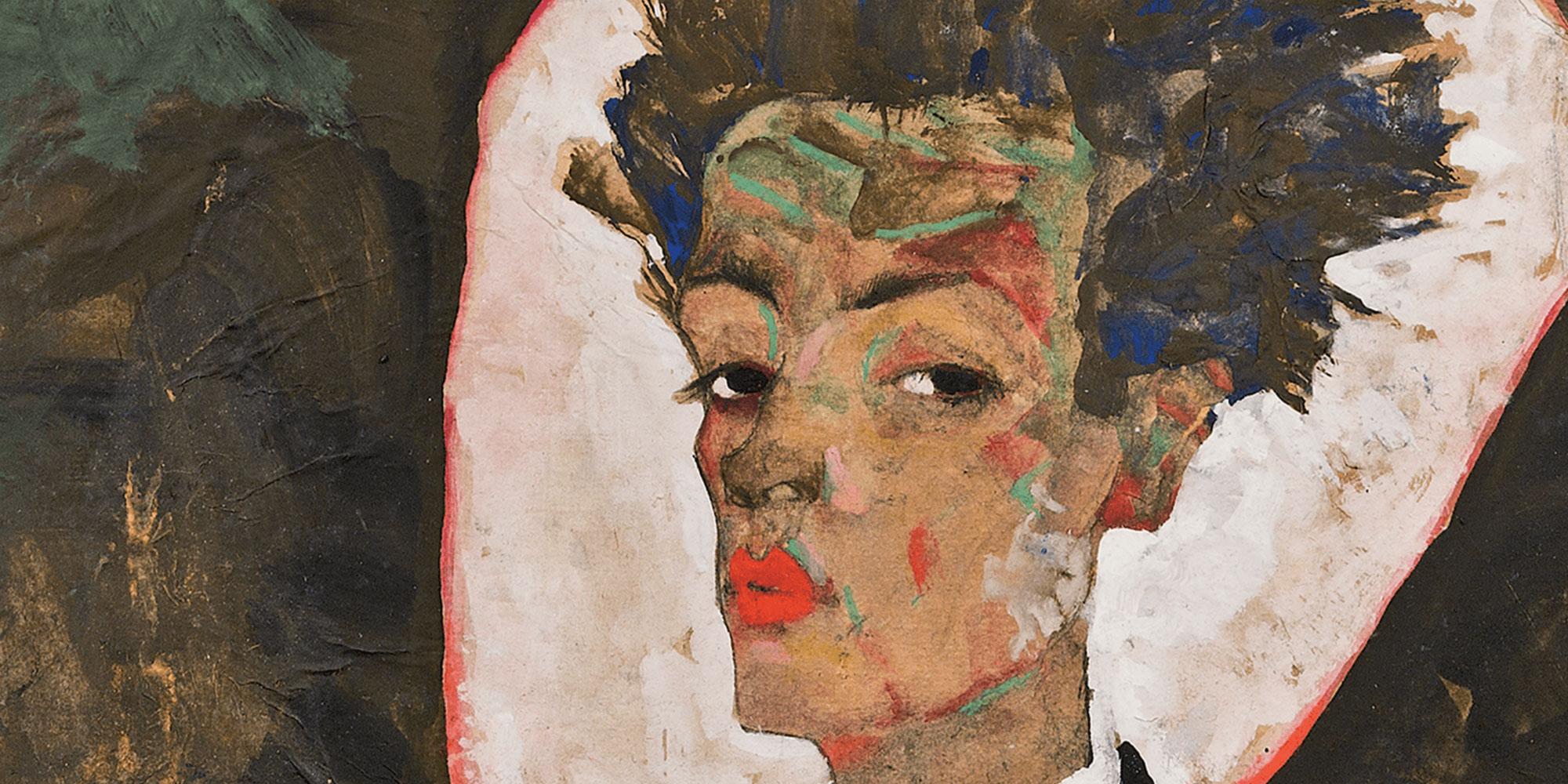 Egon Schiele Autoportrait au motif de paon compressor 10 MOSTRE DA VEDERE IN EUROPA