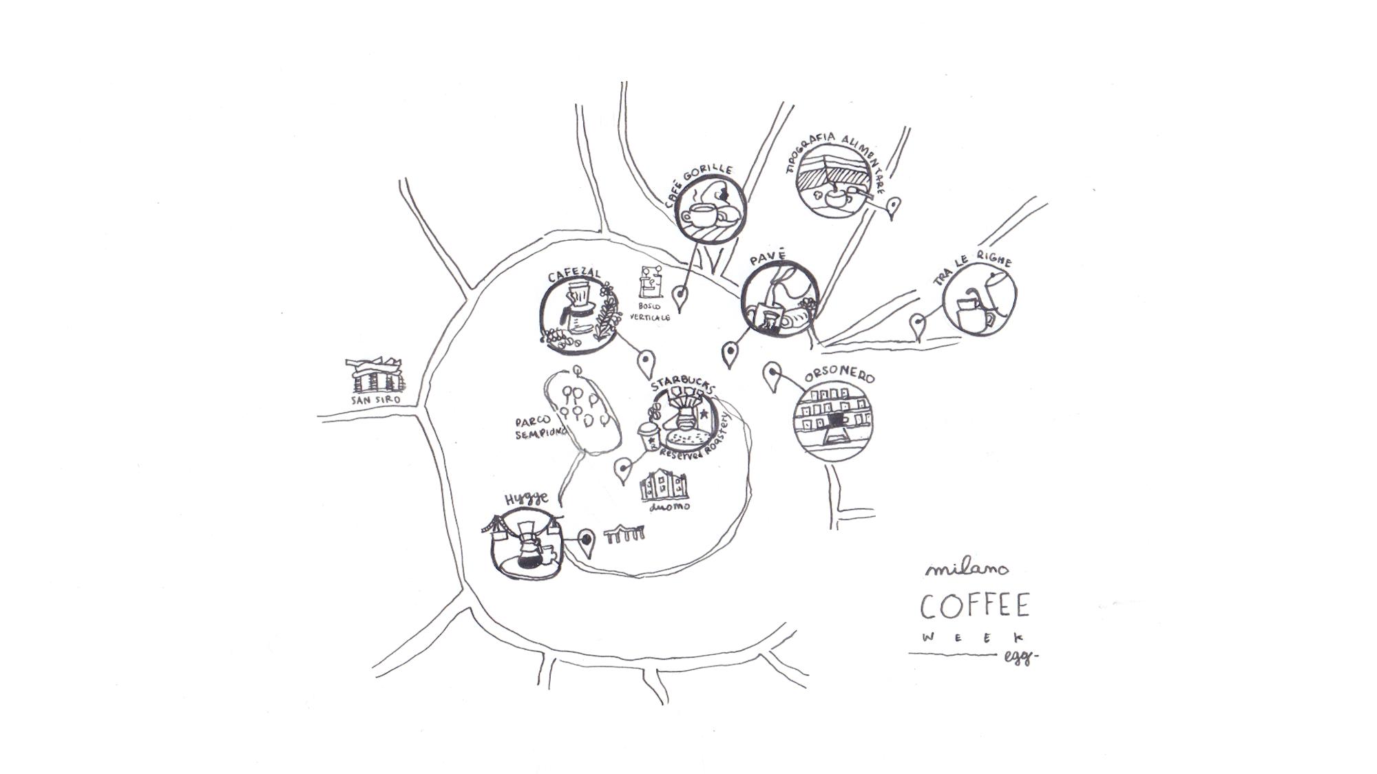 Milano Coffee 2 map egg La scena Milanese del caffè