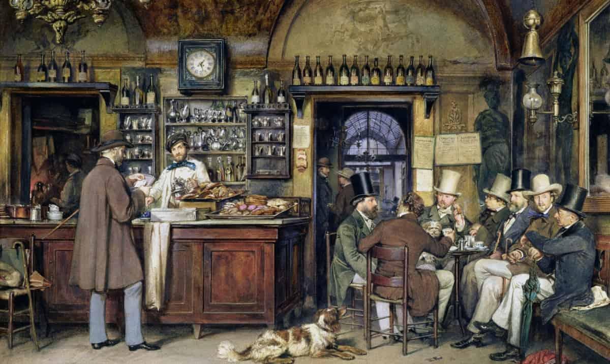 dipinto ludwig passini artisti in caffe greco roma CAFFETTERIE PARTICOLARI